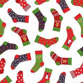 Christmas Socks Pattern. Seamless Texture With Winter Clothing Elements And Ornaments. Vector New Ye