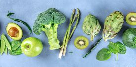 Green Food Panoramic Overhead Shot, Fruit And Vegetables, Detox Diet, A Flat Lay