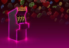 3d Slots Machine Wins The Jackpot, Neon Slot Machine, Playing Cards Wins The Jackpot.