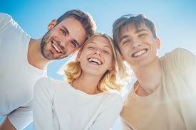 Happy Group Young People. Cheerful Smiling Happy Best Friends Walking Outdoor Together And Having Gr