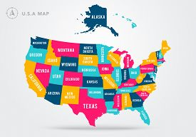 Vector Illustration Colorful Map Of United States Of America With State Name
