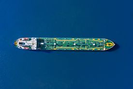 Aerial View Tanker Ship With Liquid Bulk Cargo Is Sailing In Blue Water