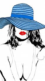 A Beautiful Sensual And Charming Woman With A Blue Hat And Red Lips