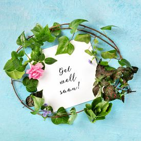 Get Well Soon Square Card With A Wreath Of Green Ivy Leaves And A Tender Pink Rose, Top Shot Of A De