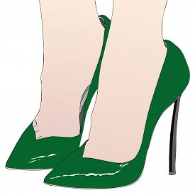 The Sexy Feet Of A Woman In Sensual High-heeled Green Shoes