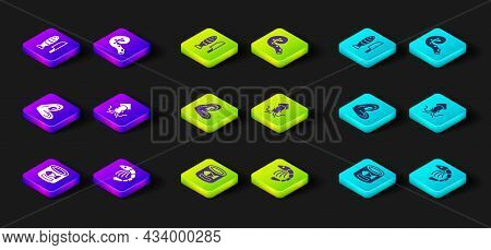 Set Canned Fish, Shrimp, Mussel, Octopus, Of Tentacle And Fish With Sliced Pieces Icon. Vector