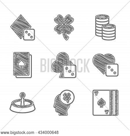 Set Game Dice, Casino Slot Machine With Clover, Deck Of Playing Cards, Roulette Wheel, Playing Spade