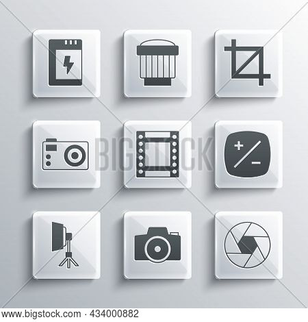 Set Photo Camera, Camera Shutter, Exposure Compensation, Roll Cartridge, Softbox Light, Battery For