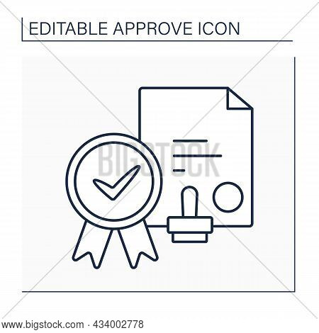 Notary Approving Line Icon. Certified By Notary Public.appointed Document With Seal. Approved In Acc
