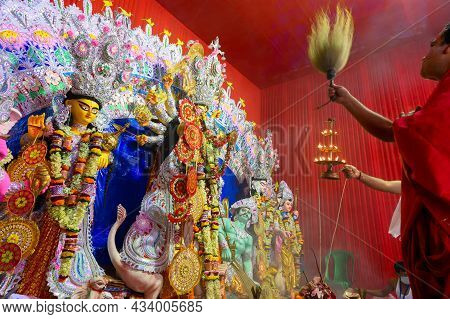 Howrah, West Bengal, India - 25th October 2020 : Dhaaks Are Played While Goddess Durga Is Being Wors