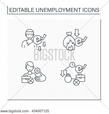 Unemployment Line Icons Set. Beggar, Lost Savings.unemployment Services. Joblessness Concept. Isolat