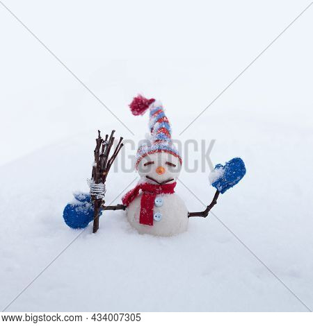 Funny Snowman Character With Hat, Red Scarf, Blue Mittens, Broom. Happy New Year And Merry Christmas