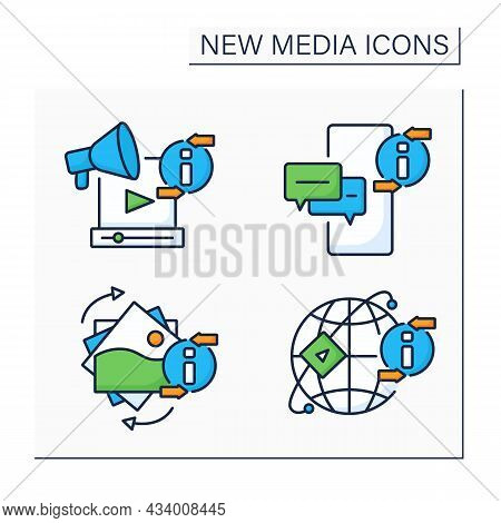 New Media Color Icons Set. Media Sharing Networks, Gifs, Messaging App, Promotion Video. Information