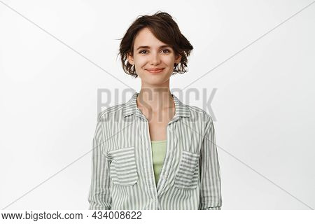 Portrait Of Young Happy Woman Smiling, Wearing Casual Shirt. Female Entrepreneur Smile With Confiden