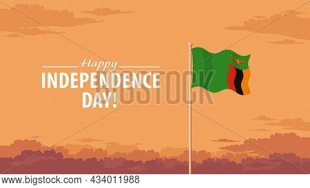 Detailed Flat Vector Illustration Of A Flying Flag Of Zambia In Front Of A Cloudy Sky Background. Ha