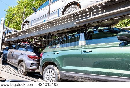 Moscow, Russia - July 6, 2021: Car Carrier Transporter Truck On A Road. Car Transporter Carries Vehi