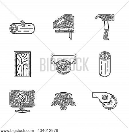 Set Two-handed Saw And Log, Tree Stump, Electric Circular, Wooden Logs, Closed Door, Hammer And Icon