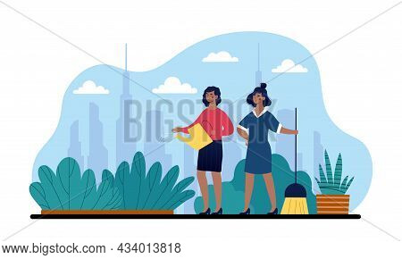 City Gardening Concept. Women Plant Flowers In City Center. Gardening And Caring For Environment. Ec