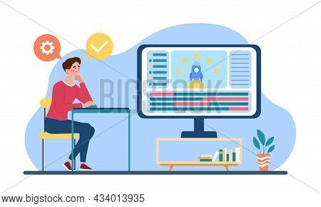 Profession Of Graphic Animator. Man Sitting At Computer, Creating Video Game And Animating Rocket. P