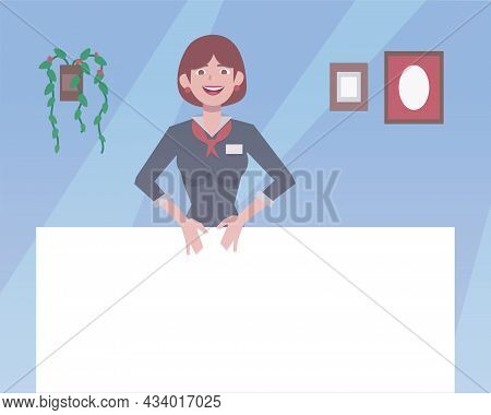 Dark-haired Girl In A Strict Gray Suit In The Office Vector Illustration