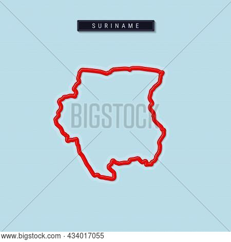 Suriname Bold Outline Map. Glossy Red Border With Soft Shadow. Country Name Plate. Vector Illustrati