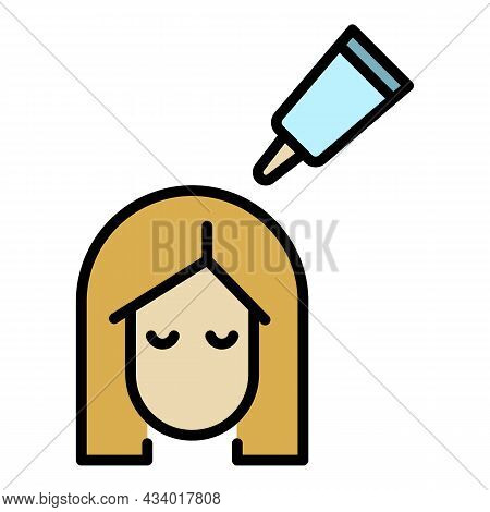 Hair Coloring Icon. Outline Hair Coloring Vector Icon Color Flat Isolated