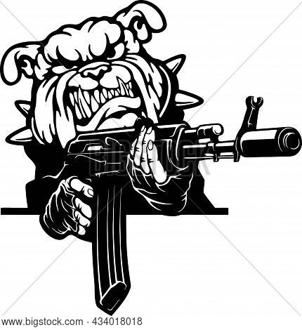Angry English Bulldog - Bad Dog With Gun - Vector Stencil