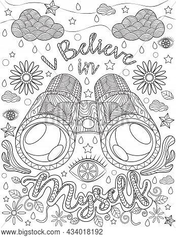 Binoculars Doodle Clouds Stars Water Drop Leaves Colorless Line Drawing. Looking Glass With Inspirat