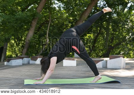 Young Beautiful Girl Performs A Modified Yoga Pose Dog Muzzle Down. Outdoor Activities. Chubby Girl