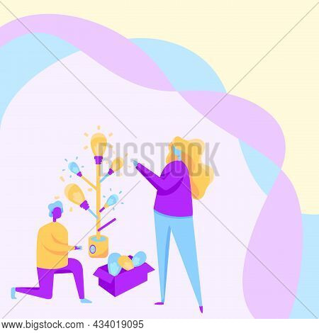 Man And Woman Drawing Standing Kneeling Assembling Light Bulb Tree Beside A Box Filled With Glass. C