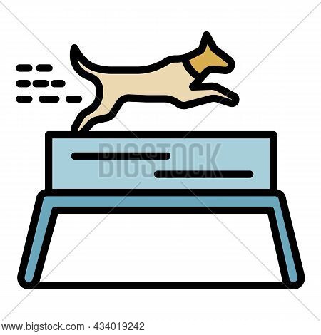 Dog Running Tournament Icon. Outline Dog Running Tournament Vector Icon Color Flat Isolated