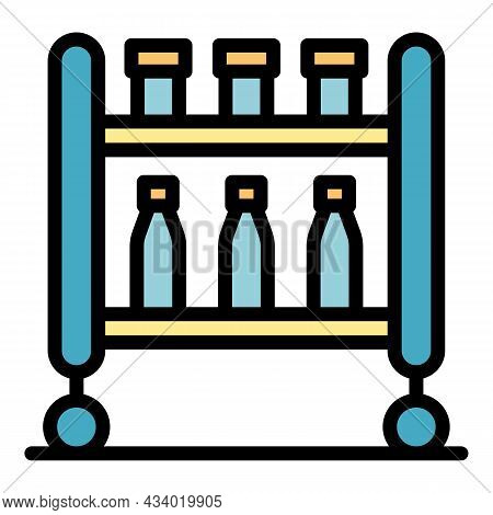 Trolley With Medication Icon. Outline Trolley With Medication Vector Icon Color Flat Isolated