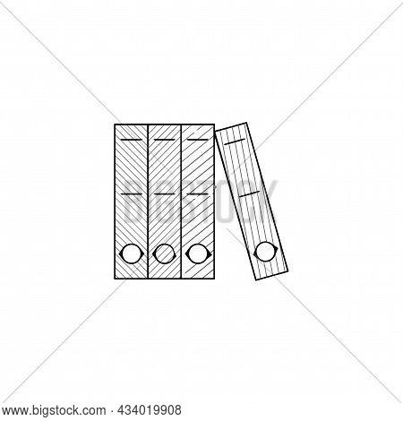 Row Of Binders Vector Thin Line Icon. Row Of Binders Hand Drawn Thin Line Icon.
