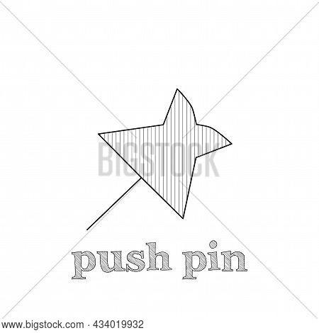 Push Pin Vector Line Icon. Push Pin Hand Drawn Icon