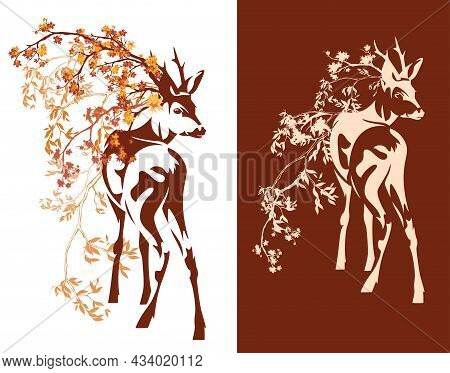 Autumn Season Vector Decor Set  With Wild Deer Stag Standing Among Falling Leaves And Tree Branches
