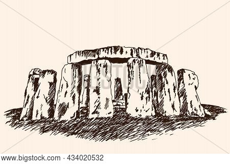 The Famous Archaeological Monument Of Architecture Made Of Large Stones. Fast Vector Sketch.