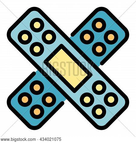 Adhesive Plaster Icon. Outline Adhesive Plaster Vector Icon Color Flat Isolated