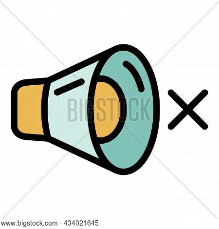 Megaphone And Cross Icon. Outline Megaphone And Cross Vector Icon Color Flat Isolated