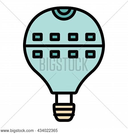 Large Hot Air Balloon Icon. Outline Large Hot Air Balloon Vector Icon Color Flat Isolated