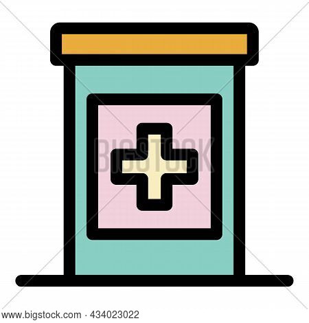 Pills Jar Icon. Outline Pills Jar Vector Icon Color Flat Isolated