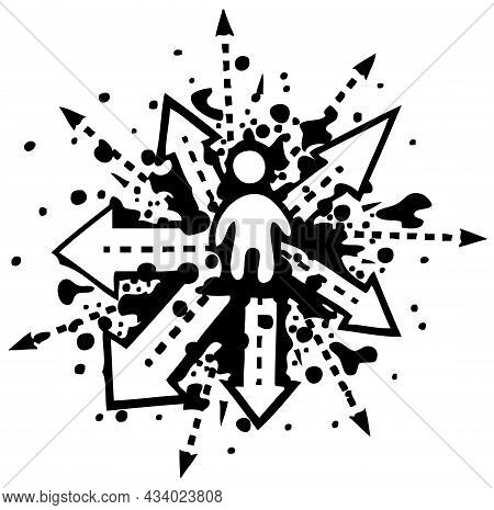 Crossroads Person Figure Choice Splatter Grunge Black, Vector Illustration, Horizontal, Isolated