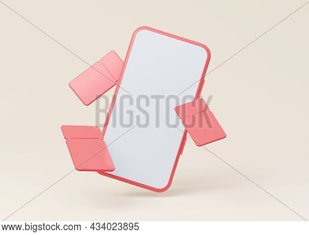 A Mockup Of A Phone With An Empty White Screen With Flying Coupons. 3d Rendering.