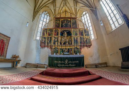 Biertan,romania-sept. 3, 2021: Interior Of The Fortified Evangelical Church Built 1490-1520.the Poly