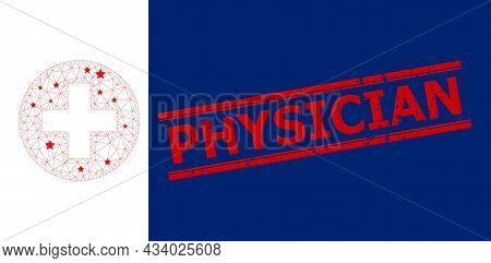 Mesh Medical Aid Polygonal 2d Vector Illustration, And Red Physician Corroded Stamp Print. Model Is
