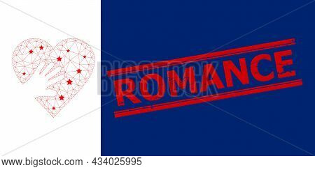 Mesh Hand Touch Heart Polygonal 2d Vector Illustration, And Red Romance Dirty Badge. Carcass Model I