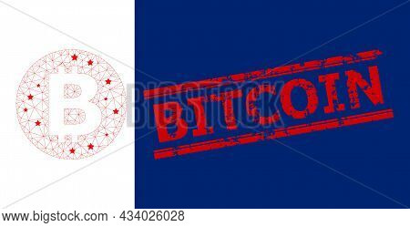 Mesh Bitcoin Polygonal Icon Vector Illustration, And Red Bitcoin Unclean Rubber Print. Carcass Model