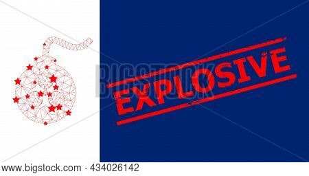Mesh Biohazard Bomb Polygonal Icon Vector Illustration, And Red Explosive Dirty Stamp Seal. Carcass