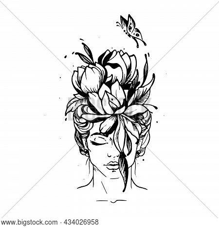 Spring Girl Tattoo. Beauty Girl. Tattoo Studio. Girl-spring. Vector Illustration