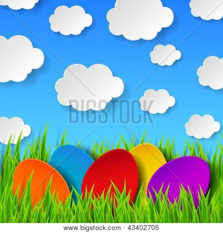 Abstract Easter eggs made of paper on colorful spring background with green grass, sky and clouds. Raster copy of vector illustration