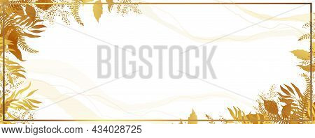 Gold Frame And Leaves. Autumn Banner With Yellow Leaves In The Form Of A Frame. White Background. Ve